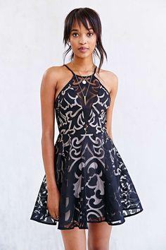 Keepsake Romantic Rebel Burnout Lace Skater Dress