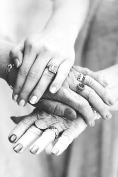 The three generations | Hands of the Bride, her Mother and her Grandmother on the morning of the wedding day | photo by Sanshine Photography http://www.sanshinephotography.com