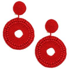 Kenneth Jay Lane Seed Bead Circle Clip-On Earrings ($75) ❤ liked on Polyvore featuring jewelry, earrings, bohemian earrings, red clip on earrings, bohemian jewellery, bohemian jewelry and beading earrings