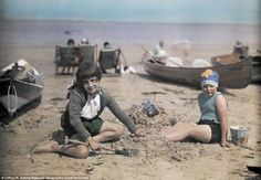 Life's a beach: Children play on the sand near Yarmouth, a popular destination for holidaymakers on the Isle of Wight in1928
