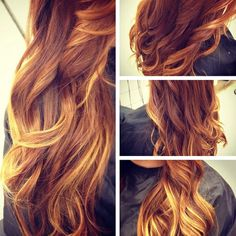 red and blonde ombre -  Heaven... I want this hair forever.