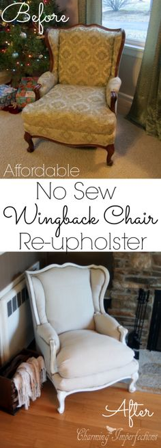 Super affordable, DIY, no sew wingback chair re-upholster tutorial. (Start this project with textiles from local botique Annex of paredown, in Ann Arbor Refurbished Furniture, Repurposed Furniture, Furniture Makeover, Reupholster Furniture, Upholstered Furniture, Re Upholster Chair, Furniture Projects, Diy Furniture, Furniture Chairs