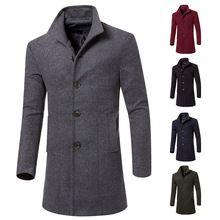 3adcbde3b7d8f abrigos para hombres · Hombres de lana ropa de largo clásico Trench invierno  solo pecho chaquetas gruesas Warm sólido Outwear