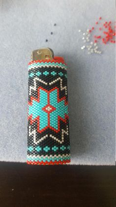Native beaded lighter case (large)...comes with out lighter