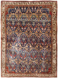 Antique Persian Silk Heriz Serapi Rug