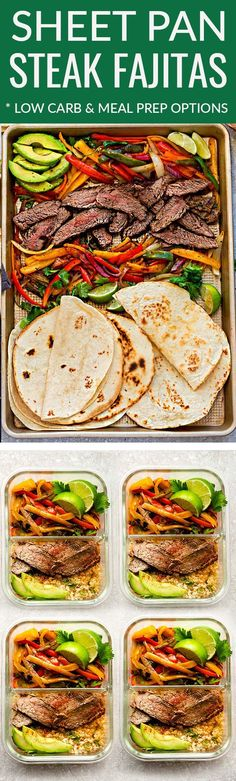 Sheet Pan Steak Fajitas – a quick, simple and tasty one pan meal perfect for busy weeknights. Best of all, steak cooks up tender, juicy and is ready in about 30 minutes with minimal clean-up with red, orange, yellow and green bell peppers. A delicious weeknight meal or for any Mexican fiesta night! Low carb, keto and Sunday meal prep options for work or school lunchboxes. #mealprep #keto #fajitas #sheetpan #lowcarb #beef #steak #mexican #cauliflowerrice