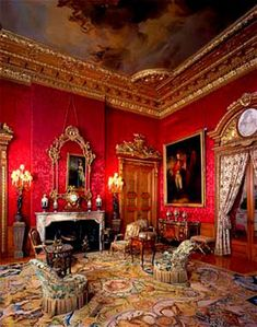 Waddesdon Manor, Buckinghamshire England. Red Drawing Room