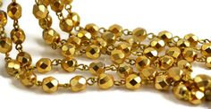 Rosary Chain Metallic Gold 6mm Czech Beads and by createyourbliss, $21.15