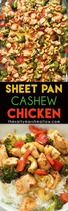 Sheet pan cashew chicken!  An easy 30 minute, one pan dinner, for a takeout favorite made easy and healthy at home! This is great served over rice or eat it by itself for a tasty low carb dinner.