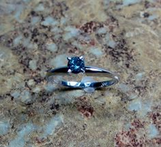 Limited Edition~  Blue Diamond 14K White Gold Promise/Engagement Ring ~ Ready to Ship ~ Size 7 14k white gold prong set  .25 carat blue diamond Sl2