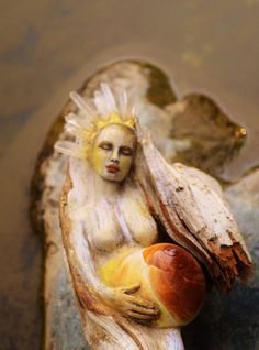 The Sacred Nature of Woman, Crystal Goddess with Shell Belly by Shaping Spirit, Driftwood Sculpture