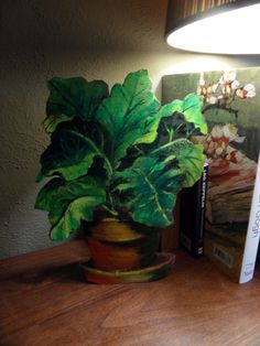 No watering needed. An acrylic trompe l'oeil creation. Plant Leaves, Hand Painted, The Originals, Plants, Plant, Planets