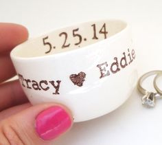 CUSTOM RING DISH personalized date names initials wedding ring pillow ring holder candle holder wedding gift idea engagement gift idea by ElyciaCamille on Etsy https://www.etsy.com/listing/97808565/custom-ring-dish-personalized-date-names
