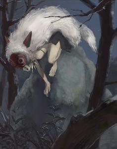 Tags: Anime, Pixiv Id 282829, Studio Ghibli, Mononoke Hime, San (Mononoke Hime), Nature, Make Up