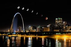 Blood Moon eclipse sequence over St. Louis - October 8th lunar eclipse.  www.rsaphoto.com