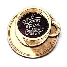 A Damn Fine Coffee Brooch (1.560 RUB) ❤ liked on Polyvore featuring jewelry, brooches and coffee jewelry