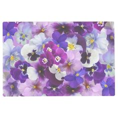 Shop Beautiful Pansies Spring Flowers Placemat created by RosellaDesigns. Cactus Flower, Pansy Flower, Flower Wallpaper, Wallpaper Art, Yellow Theme, Personalized Door Mats, Flower Cards, Custom Posters, Pansies