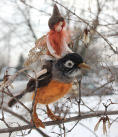 December ~ Advent ~ Week Three: The Light of Bird & Beast ~ Needle Felted Robin with Sprite