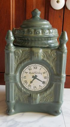 Marshall Fields State Str Clock Cookie, Biscuit jar, Wonderful Item, Ceramic cookie Jar. via Etsy.