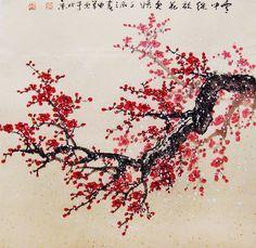 Original painting chinese art oriental art-Lovely cherry blossom tree No.51