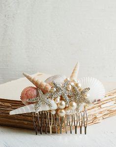 Bridal HAIR COMB Sea Shell Hair Accessory Beach Wedding Mermaid