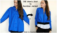 From Button Down to Bomber Jacket:    In this tutorial I show you how to refashion a men's shirt into a bomber jacket. My husban...