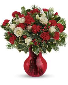 Christmas Flowers Delivery Louisa KY - Farmhouse Memories Christmas Flower Arrangements, Christmas Flowers, Christmas Centerpieces, Floral Arrangements, Christmas Holiday, Christmas Ideas, Christmas Decorations, Rose Delivery, Flower Delivery