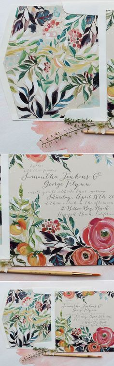 Ferns and Leaves with Orange Blooms, Hand Painted Watercolor Wedding Invitations.