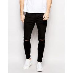 Selected Homme Super Skinny Fit Jeans with Stretch and Rips (3,840 DOP) ❤ liked on Polyvore featuring men's fashion, men's clothing, men's jeans, black, mens super skinny stretch jeans, mens super skinny jeans, mens destroyed jeans, mens stretchy jeans and mens ripped skinny jeans