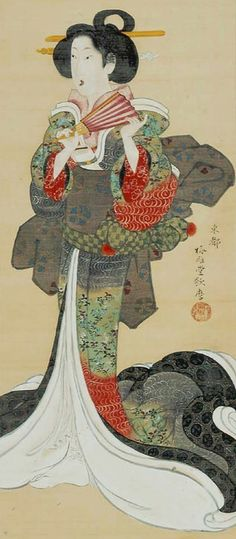 Servant of nobility~ Main detail of a hanging scroll; ink and color on silk, 1810-18,Japan~ by artist Kitagawa Utamara II. MFA (William Sturgis Bigelow Collection)~♛