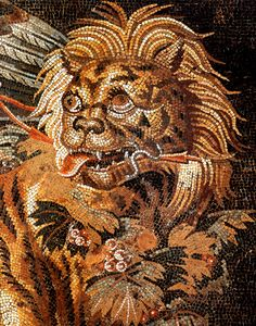 Lion Mosaic / Pompeii No doubt buried beneath ash for a thousand years plus. Vesuvisus erupted in 79 ad