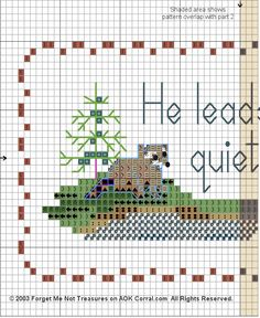 Lakeside Canoe Raccoons Cross Stitch with Scripture - Psalm 23:2