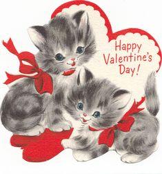 """vintage """"Happy Valentine's Day!"""" kittens"""