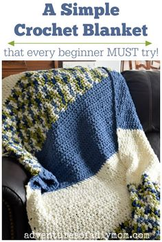 Mar 2019 - A quick and easy crochet blanket tutorial that every beginner MUST try! This blanket works up quickly because of the thick yarn it is made from. Using just a chain and half double crochet, this blanket is simple, easy and so fast to make. Quick Crochet Blanket, Crochet Blanket Tutorial, Crochet For Beginners Blanket, Blanket Yarn, Crochet Blanket Patterns, Afghan Crochet, Crochet Blankets, Baby Blankets, Crochet Stitches