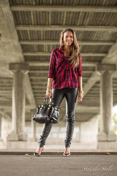 tartan  leather pants street style ootd