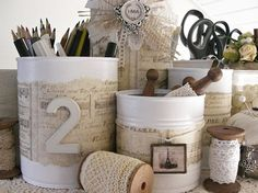 great way to make random tin cans look pretty for the office storage.