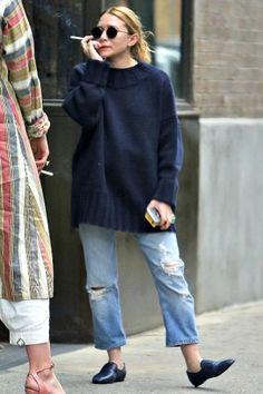Ashley Olsen wearing The Row Alys Loafers and Oliver Peoples The Row After Midnight Sunglasses