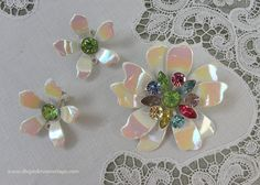 Vintage Enameled and Rainbow Rhinestones Daisy Pin Brooch and Earring Set