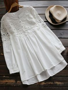 Lace Spliced High Low Smock Dress - White One Size Pride Outfit, Smocked Dresses, Blouse Styles, Blouse Designs, Hijab Fashion, Fashion Outfits, Trendy Fashion, Fashion Site, Men Fashion