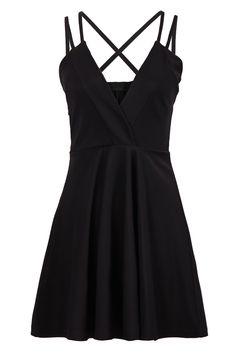 Solid Color Black Spaghetti Strap Cross Little Black Dress #Sexy #Strappy #LBD #Little_Black_Dress #Fashion