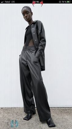 <br> Snap Pants, October Fashion, Stella Mccartney Falabella, Img Models, Cold Weather Outfits, Fall Trends, Shirt Outfit, Harem Pants, Leather