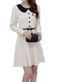 Apricot Peter Pan Collar Long Sleeve Polyester Dress