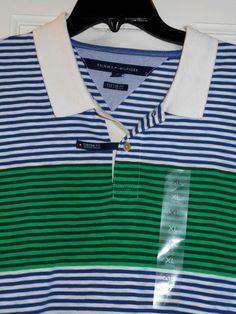New $79 TOMMY HILFIGER Blue Green Stripe Colorblock Polo Golf Shirt~XL~REDUCED! #TommyHilfiger #PoloShirt