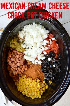 Mexican Cream Cheese Crock Pot Chicken. This is one of the easiest and most delicious recipes ever. It makes the perfect filling for tacos, burritos or burrito bowls.