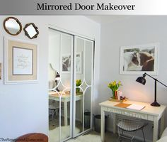 Sliding Mirrored Door Makeover. Using Overlays. Would prefer if outside frame was thicker.