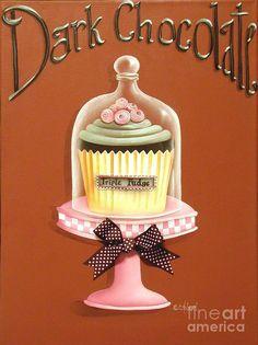 Dark Chocolate Cupcake Painting