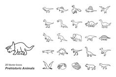 Prehistoric Animals outlines vector  by Jisun Park on @creativemarket