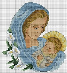 Madonna con bambino a punto croce. Cross Stitch Bird, Cross Stitch Designs, Cross Stitching, Hand Embroidery Patterns, Machine Embroidery, Religious Cross Stitch Patterns, Madonna, Sweetie Belle, Jesus On The Cross
