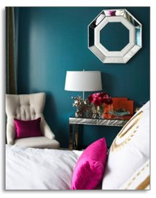 light colors in teal room.