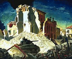 """""""Canadian Armour Passing Through Ortona"""" by Charles Fraser Comfort (1944) at the Canadian War Museum, Ottawa - The Battle of Ortona was the Canadians' first real experience with urban fighting in WWII.  Confronted with narrow streets and German defences, the Canadians realized that their tanks could not play a primary role in the combat.  Instead, the armoured regiment from Trois-Rivières, Quebec, provided important covering fire for the infantry as they fought to take the town house by…"""